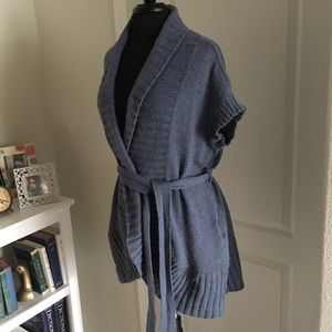 💙 Tunic-Length Cardigan 🐑 Wool/Cotton Blend